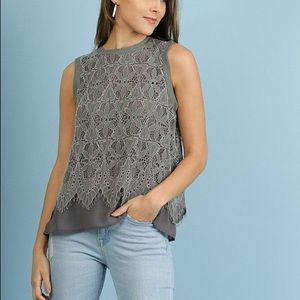 5/$25 Umgee Tank with Lace Overlay Olive Green